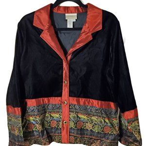 Coldwater Creek Velvet and Satin Tapestry Jacket S